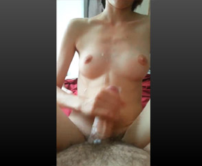 She Wanks Me And I Cum On Her Belly & Pussy